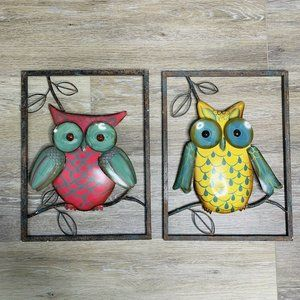 Owls Wall Art Aluminum Pair Green Yellow Purple Re